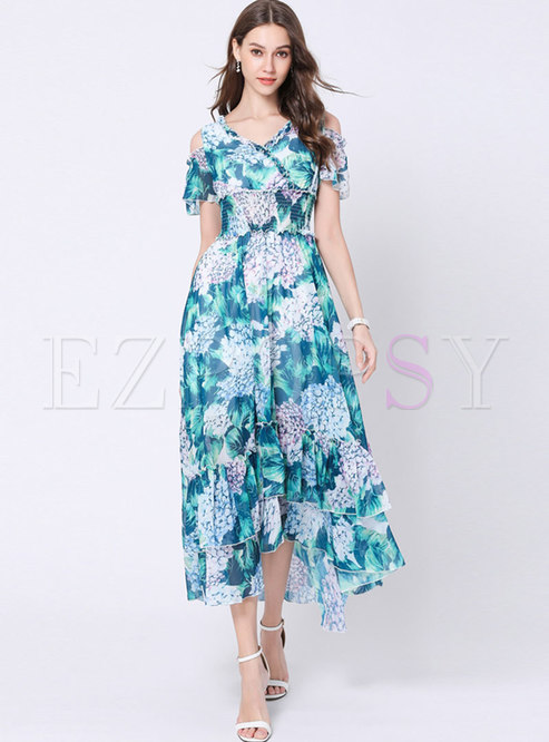 Print V-neck Elastic Waist Hem Maxi Dress