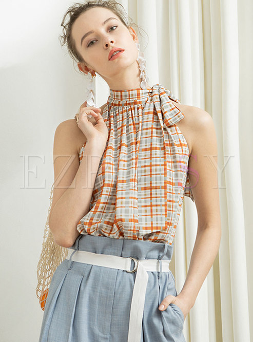 Stylish Off Shoulder Plaid Tied Chiffon Top