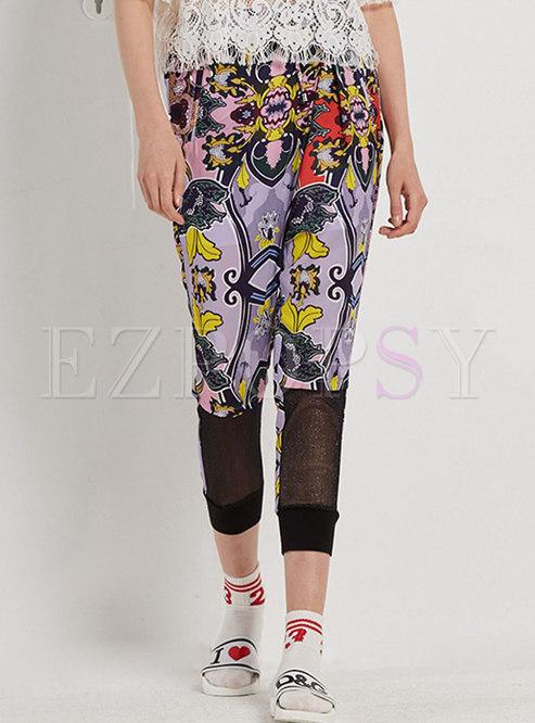 Stylish Print Splicing Slim Pencil Pants