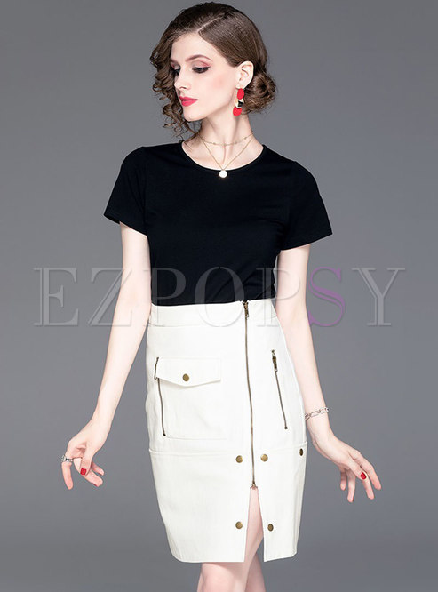 Letter Embroidered Loose T-shirt & Single-breasted Mini Skirt