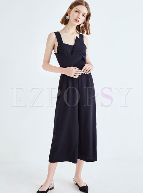 Brief Solid Color Bowknot Chiffon Wide Leg Pants
