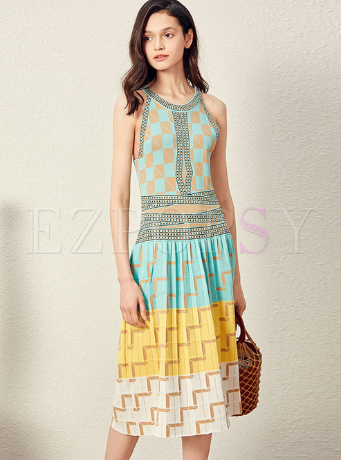 Elegant Color-blocked Sleeveless Slim Knitted Dress