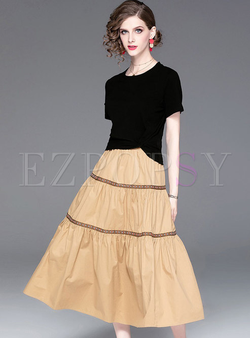 Casual O-neck T-shirt & Splicing A Line Skirt