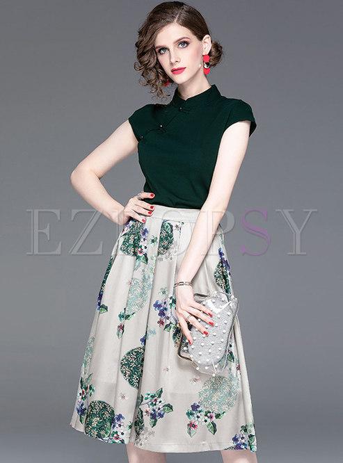 Solid Color Mandarin Collar Top & Print Skirt