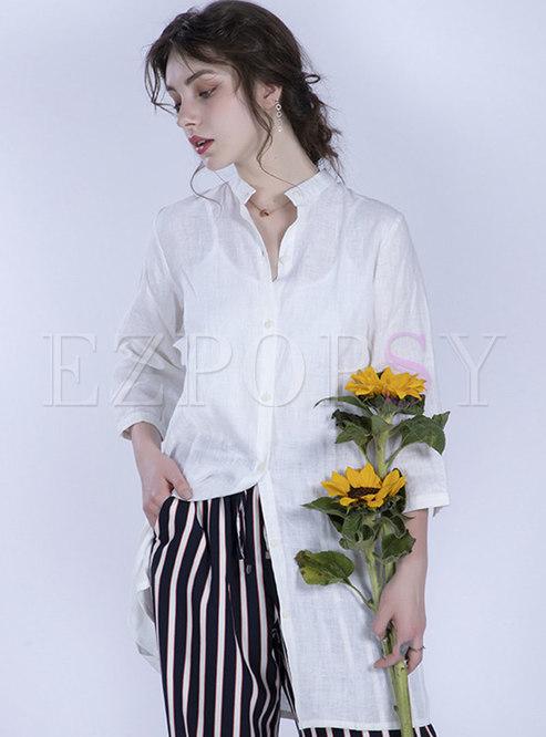 Elegant Stand Collar Half Sleeve Blouse