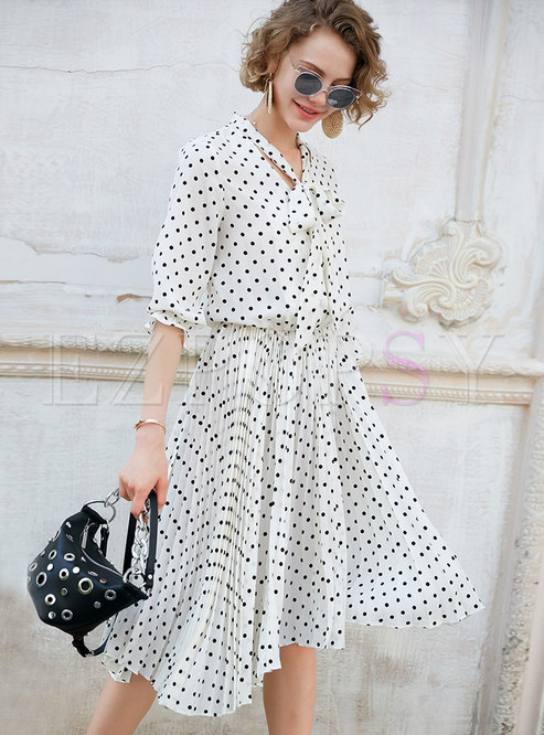 Fashion Polka Dot Asymmetric Tied Skater Dress
