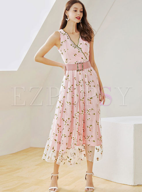 Fashion V-neck Sleeveless Print Mesh Big Hem Dress