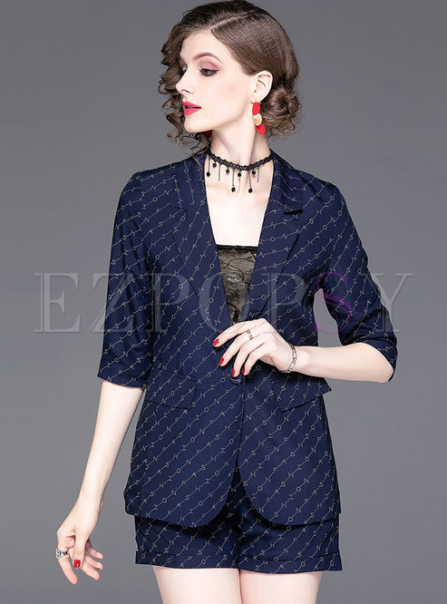 Brief Lapel Blue Print Striped Two-piece Outfits