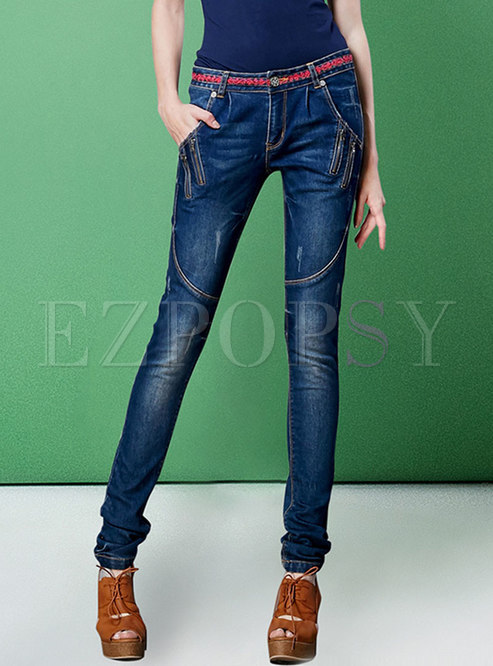 Chic Splicing Slim Casual Sheath Jeans