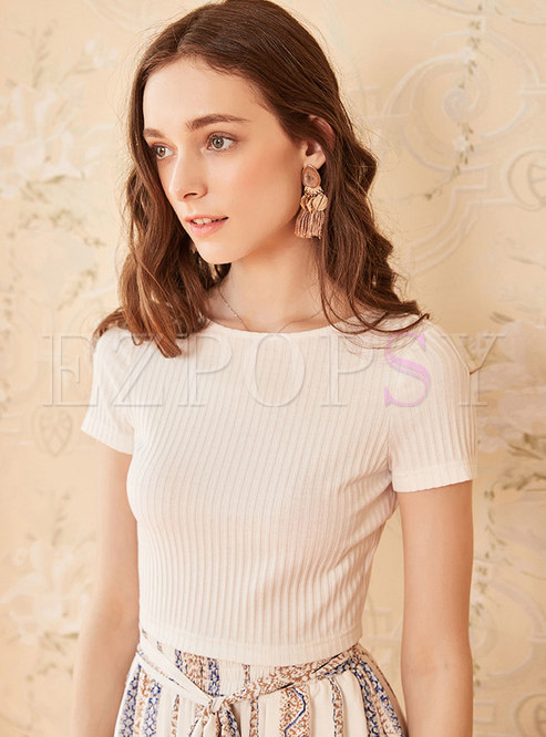 Brief Solid Color Backless Tied Striped Sheath T-shirt