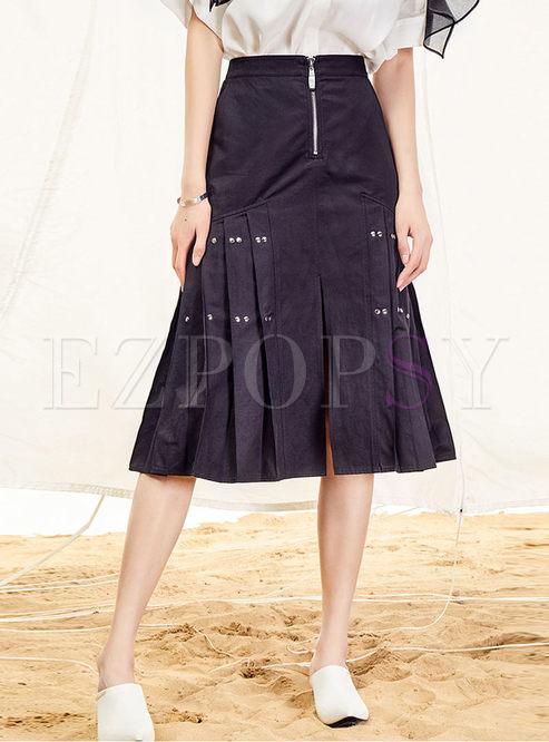 Stylish High Waist Slit Mermaid Skirt