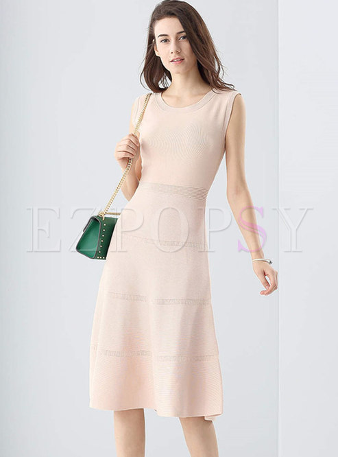 Solid Color Sleeveless Gathered Waist Knitted Dress