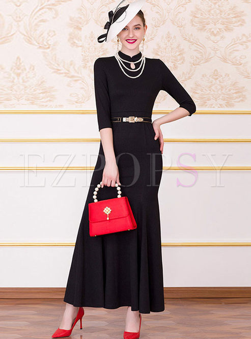Retro Mandarin Collar Slim Bodycon Maxi Dress