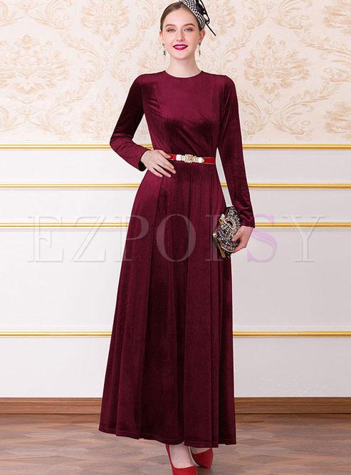 Brief O-neck Long Sleeve High Waist Maxi Dress