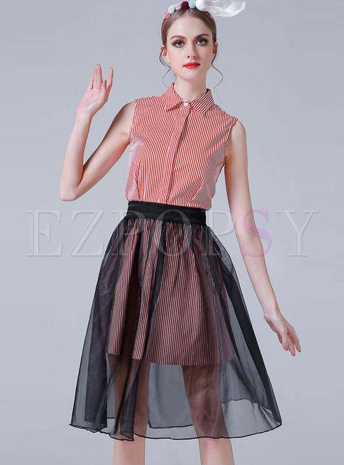 Casual Sleeveless Stripe Shirt Dress & Mesh Skirt