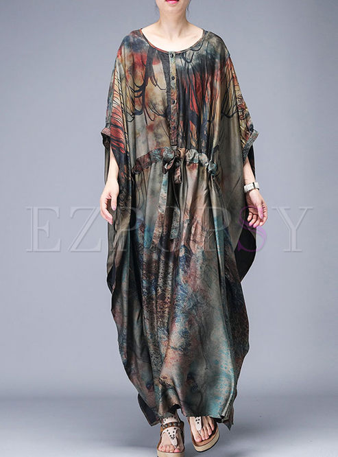 Ethnic O-neck Lantern Sleeve Plus Size Shift Dress