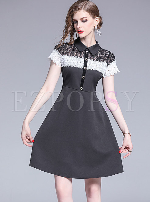 Lace Splicing Lapel High Waist A Line Dress
