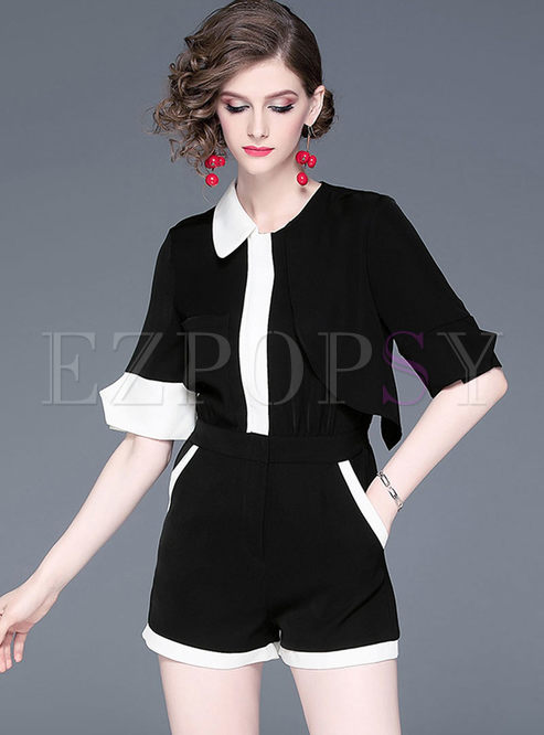 Fashion Color-blocked Half Sleeve Asymmetric Rompers