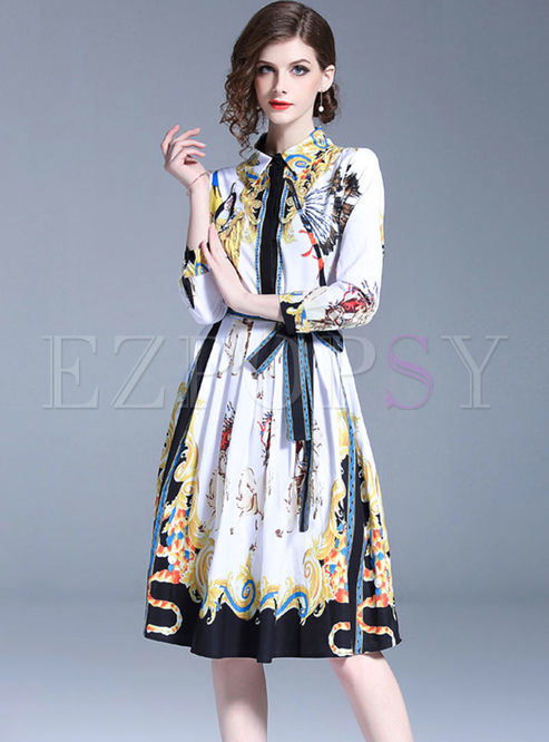 Court Lapel Long Sleeve Print Skater Dress