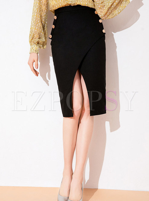 Chic Black All-matched Slim Split Irregular Sheath Skirt