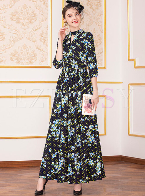 Ethnic Print O-neck Holiday Big Hem Maxi Dress