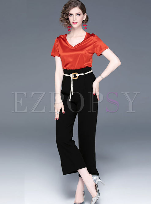 Solid Color V-neck T-shirt & Brief Wide Leg Pants