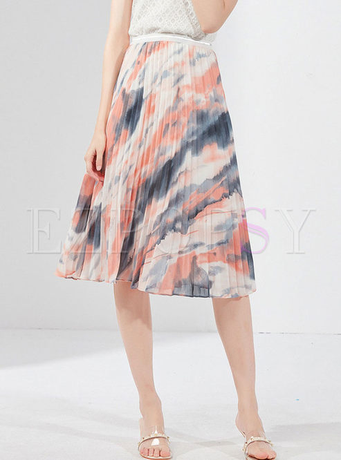 Fashion High Waist Print Pleated Skirt