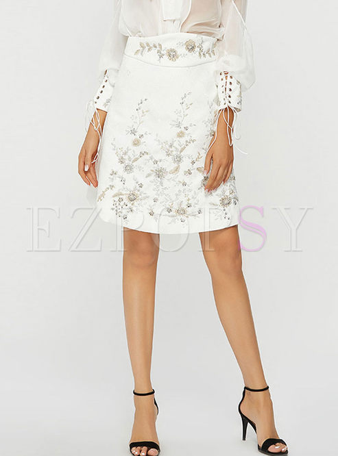 Brief Casual Embroidered Mini A Line Skirt