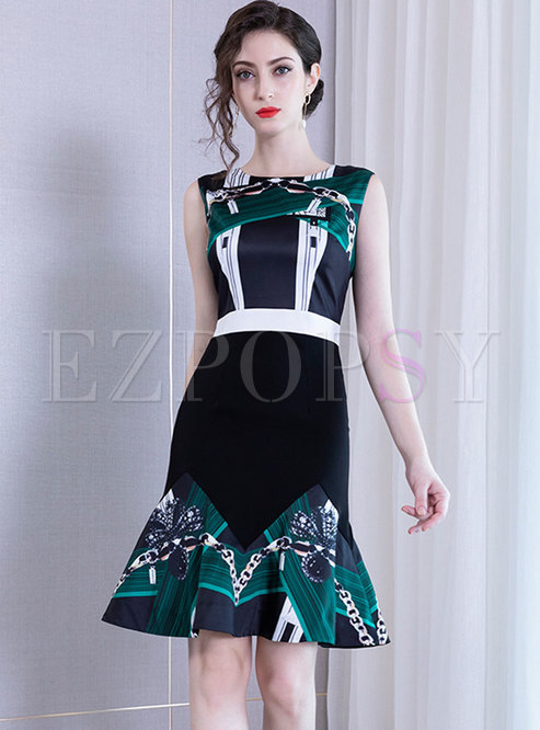 Elegant Color-blocked High Waist Mermaid Bodycon Dress