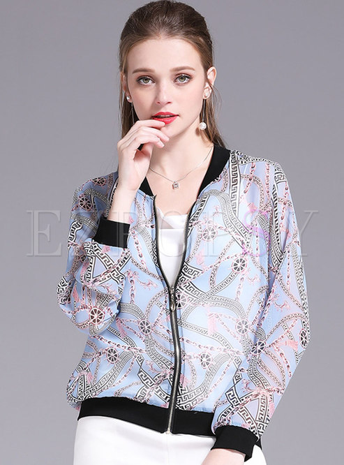 Print O-neck Zipper Short Jacket