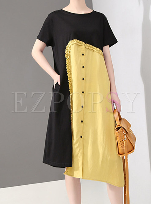 Chic Color-blocked O-neck Asymmetric T-shirt Dress