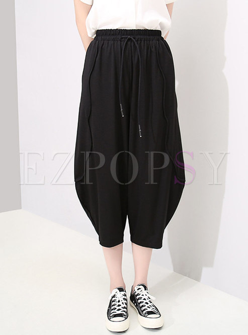 Casual Elastic High Waist Black Tied Straight Pants