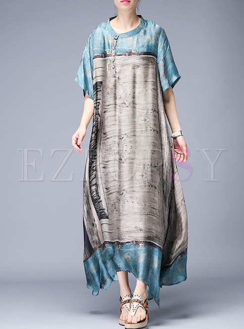 Vintage Print O-neck Asymmetric Loose Maxi Dress