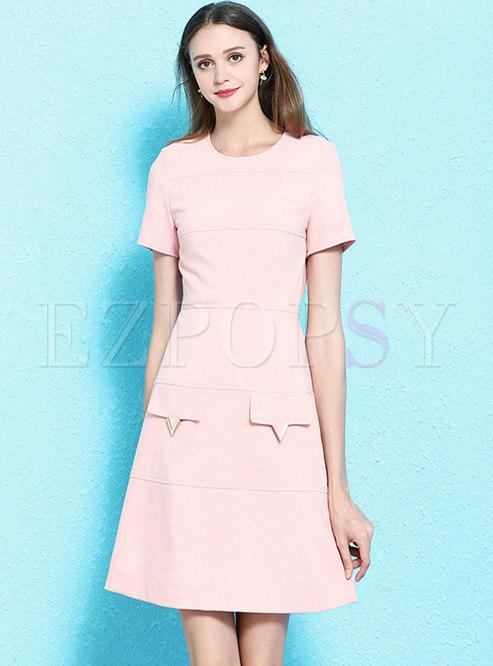 Brief O-neck Gathered Waist A Line Dress