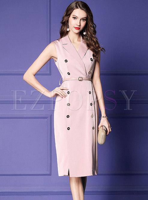 Elegant Work Lapel Double-breasted Split Bodycon Dress