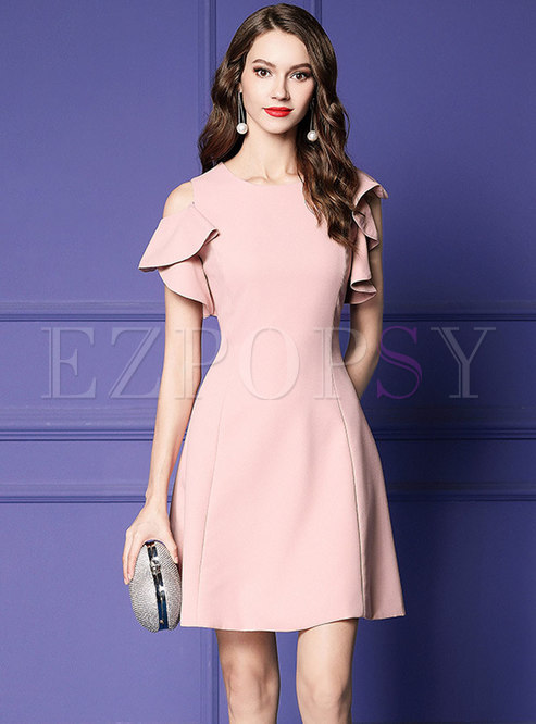 Stylish Pure Color Off Shoulder Party Skater Dress