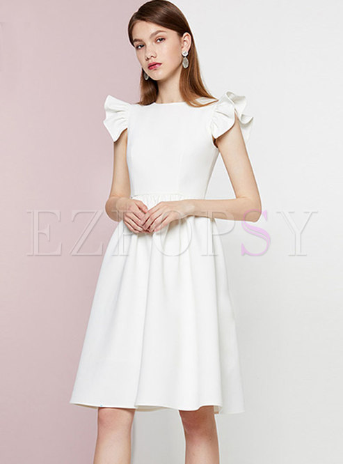 Brief Gathered Waist White Ruffle Sleeve Ball Gown Dress