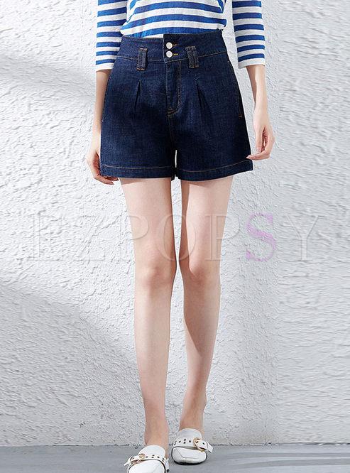 Fashion Summer High Waist Straight Denim Shorts