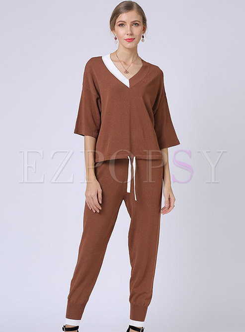 V-neck Color-blocked Knitted Two-piece Pants Set