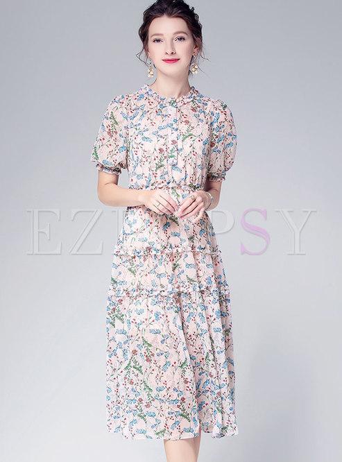Multi-color Print Splicing Chiffon A Line Dress