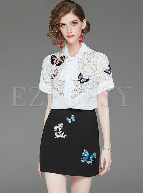 Fashion Embroidered Lace Blouse & Slim Bodycon Skirt