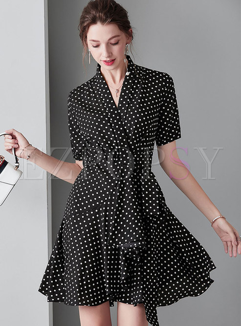 Polka Dot V-neck Tie-waist Asymmetric Mini Dress