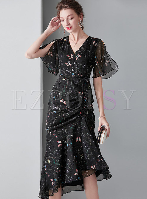 Butterfly Print V-neck Tied Asymmetric Bodycon Dress