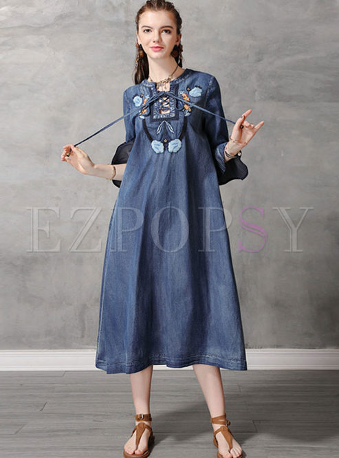 Plus Size O-neck Half Flare Sleeve Denim Dress