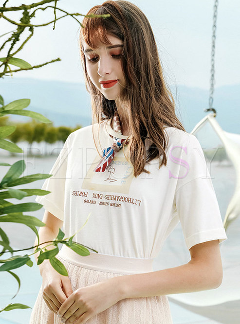 Brief O-neck Letter Embroidered All-matched T-shirt