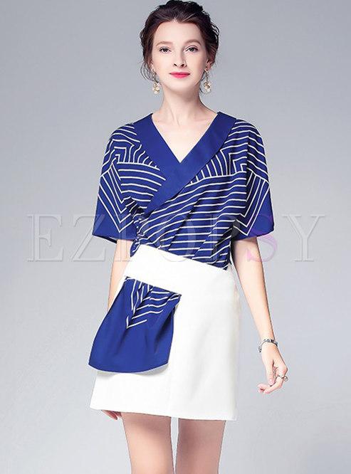 Stylish V-neck Striped Top & All-matched Sheath Skirt
