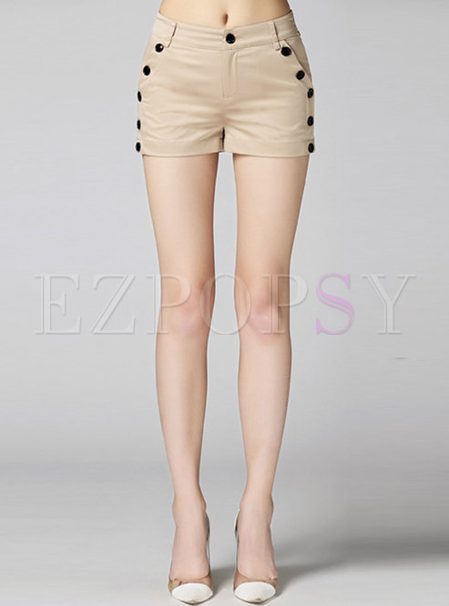 Casual High Waist Slim Shorts