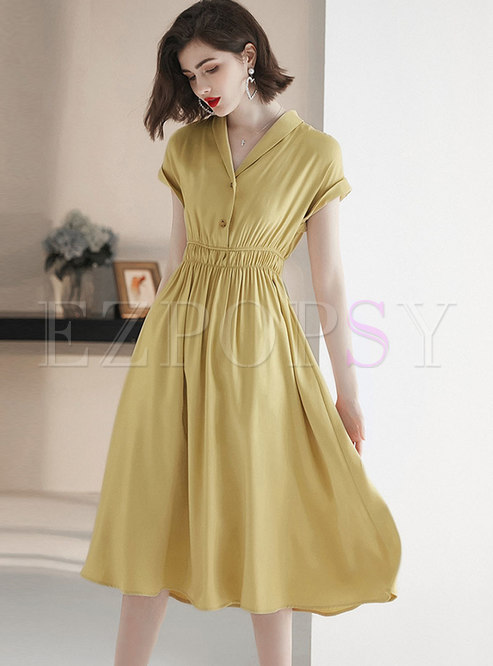 Solid Color V-neck Elastic Waist Skater Dress