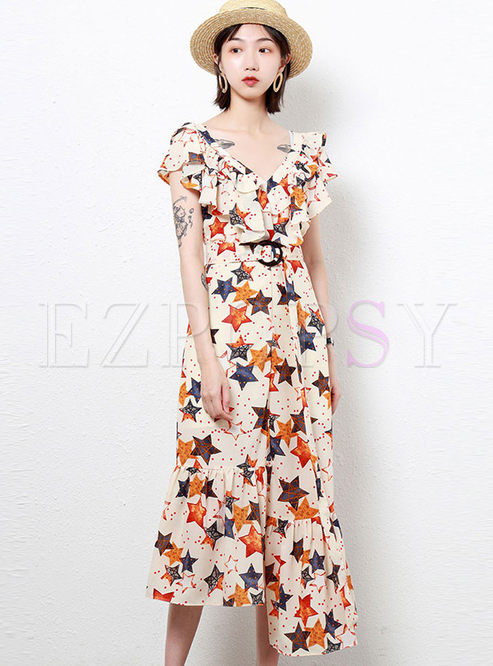 Stylish V-neck Falbala Star Print Chiffon Dress