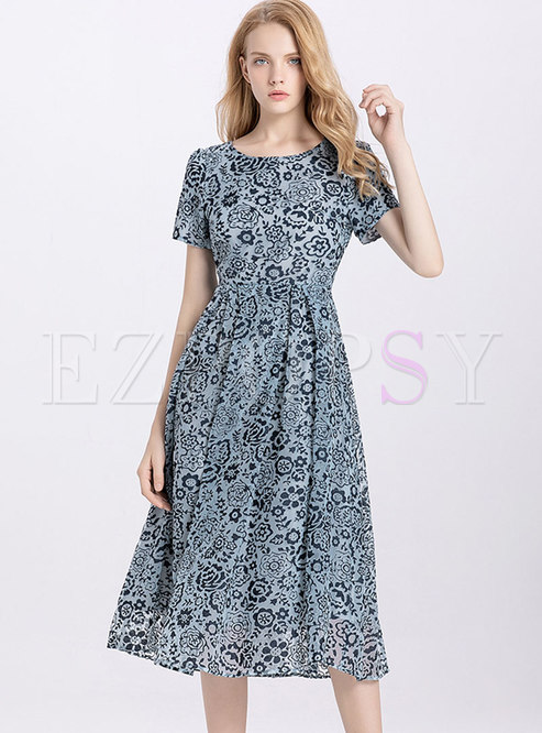 Elegant O-neck Embroidered High Waist Skater Dress